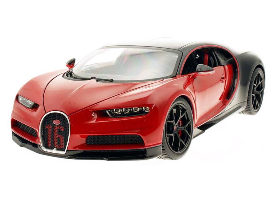 Modellauto 1:24 Bugatti Chiron 2017 rot//schwarz Welly