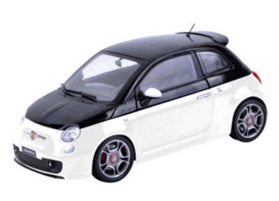 modellauto fiat abarth 500 weiss schwarz motormax 1 24 bei. Black Bedroom Furniture Sets. Home Design Ideas
