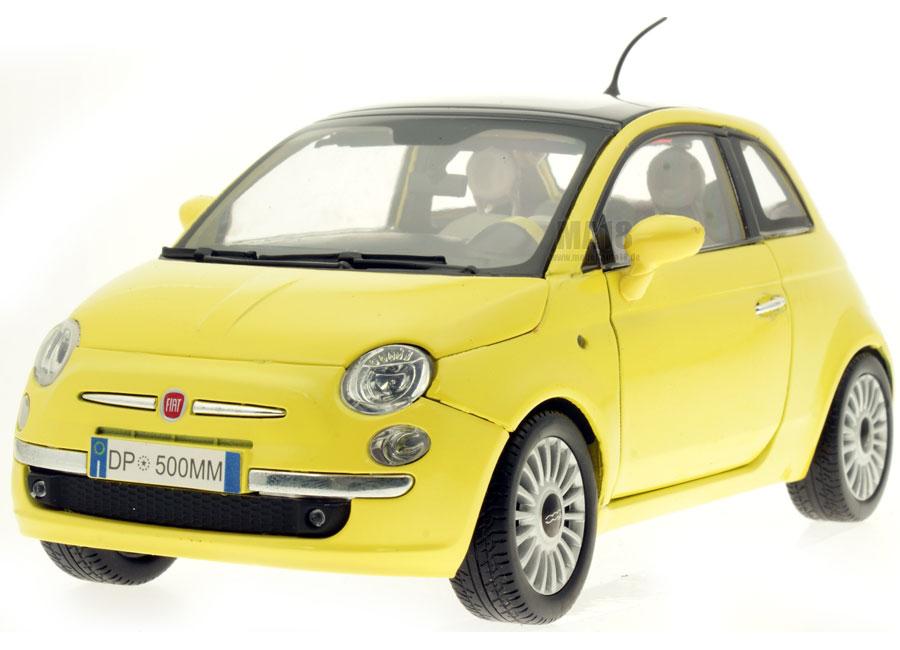 modellauto fiat nuova 500 gelb motormax 1 18 bei. Black Bedroom Furniture Sets. Home Design Ideas