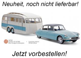 Citroën DS 19 1959 - Bleu Nuage & Aubergine & Caravane Hénon Norev 1:18  Availability unknown (not before Q2 2021)