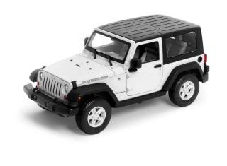 Jeep Wrangler Rubicon with black closed soft top, white with black top 2007 Welly 1:24
