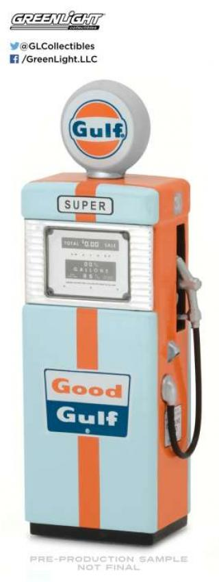 Tankstelle 1951 Wayne 505 Gulf Oil Gas Pump *Vintage Gas Pumps Series 1* orange/blue  Greenlight 1:18