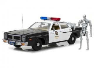 Dodge Monaco Metropolitan Police 1977 with 1:18 T-800 Endoskeleton Figure *The Terminator 1984* Greenlight 1:18