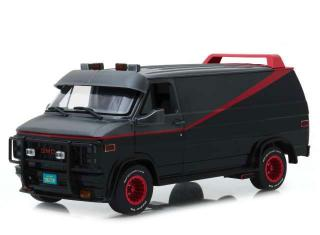 GMC Vandura *A Team Van* 1983, grey/black with opening parts like front doors & sliding door and inside it has 4 Seats and Electronics Tower Dash Greenlight 1:18