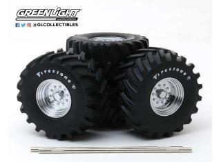 48-Inch Monster Truck *Firestone* Wheel & Tire Set Reifen und Felgen Kings of Crunch Greenlight 1:18