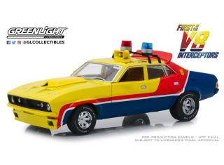 Ford Falcon XB 4-Door Sedan M.F.P 1974 *First of the V8 Interceptor 1979*, yellow/blue/red Greenlight 1:18
