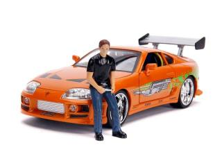 Toyota Supra 1995 *Fast and Furious* with lights & Brian Figure, orange Jada 1:18