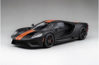 Ford GT - Matte Black w / Competition Orange Stripe Top Speed 1:18