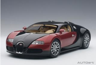 BUGATTI EB 16.4 VEYRON PRODUCTION CAR #001 (BLACK/RED METALLIC/BEIGE INTERIOR) 2006 (LIMITED EDITION OF 1.200 PIECES WORLDWIDE) AUTOart 1:18