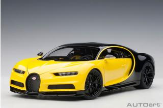 BUGATTI CHIRON 2017 (JAUNE MOLSHEIM YELLOW/NOCTURNE BLACK) (COMPOSITE MODEL/FULL OPENINGS + WORKABLE REAR SPOILER) AUTOart 1:18