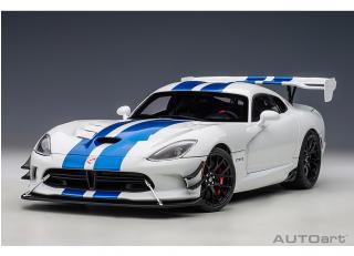 Dodge Viper GTS-R Commemorative Edition ACR 2017 (pearl white/blue stripes) (composite model/full openings) AUTOart 1:18