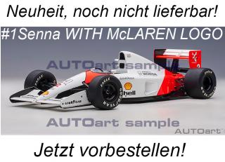 McLAREN HONDA MP4/6 1991 A.SENNA #1 (WITH McLAREN LOGO) AUTOart 1:18 Composite <br> Availability unknown