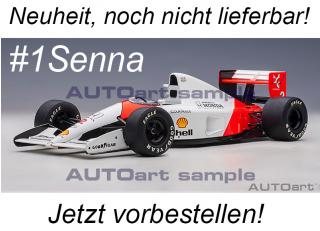 McLAREN HONDA MP4/6 1991 A.SENNA #1 (WITHOUT McLAREN LOGO) AUTOart 1:18 Composite <br> Availability unknown
