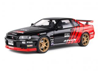 Nissan Skyline GT-R (R34) 1999 Advan Drift Evocation S1804302 Solido 1:18 Metallmodell