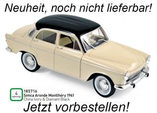 Simca Aronde Montlhéry 1961 - China Ivory & Diamant Black Norev 1:18 <br> Availability unknown