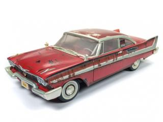 PLYMOUTH FURY CHRISTINE 1958 DIRTY VERSION mit funktionierenden Scheinwerfern Auto World 1:18