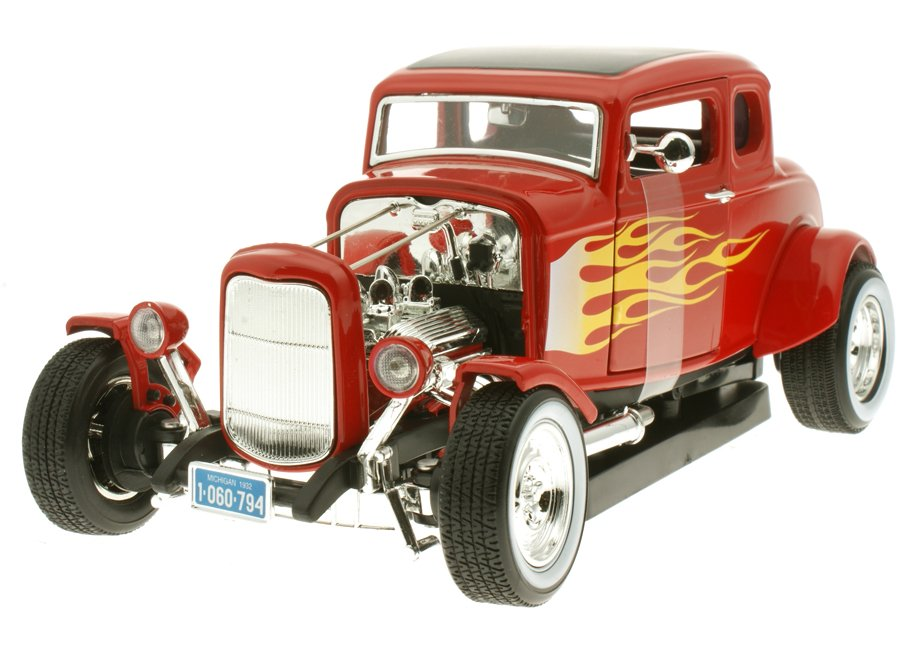 modellauto ford hot rod 1935 rot mit flammen motormax 1 18. Black Bedroom Furniture Sets. Home Design Ideas