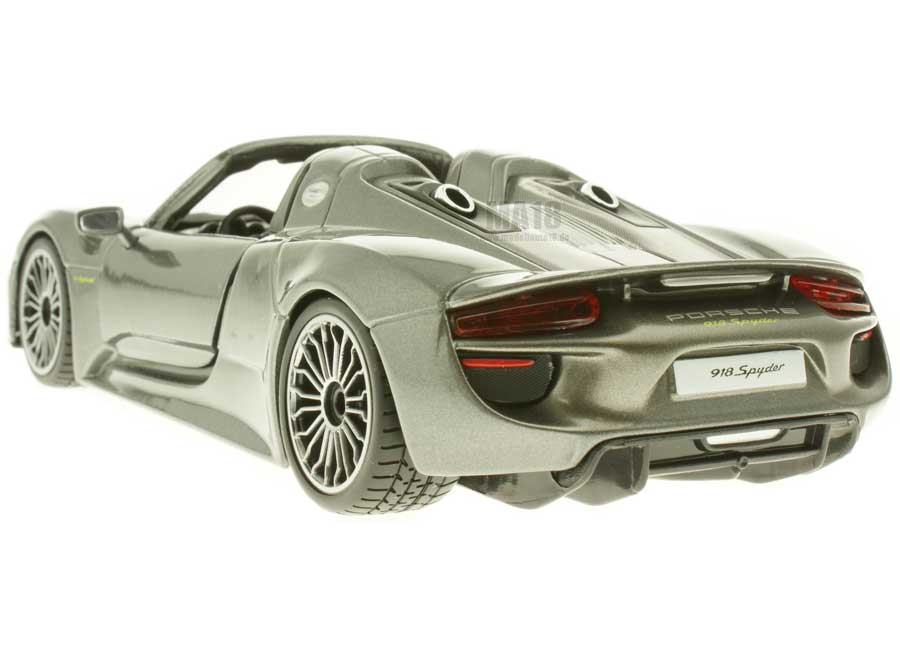 modelcar porsche 918 spyder grey metallic burago 1 24 at. Black Bedroom Furniture Sets. Home Design Ideas